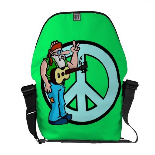 Hippie Peace Sign Messenger Bag