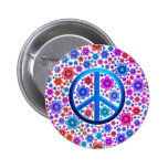 Hippie Peace Sign Pinback Buttons