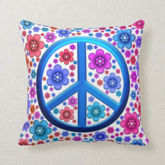 Hippie Peace Sign Throw Pillow