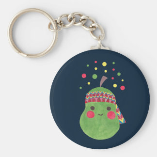 Hippie Pear Basic Round Button Key Ring