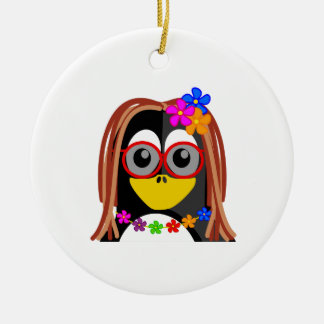 Hippie Penguin Round Ceramic Decoration