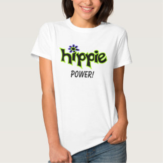 Hippie Power Colorful Graphic Black Word Saying Tee Shirt