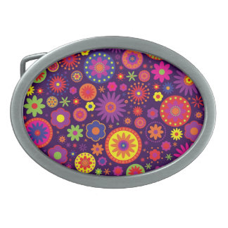 Hippie Purple Rainbow Flowers Belt Buckles