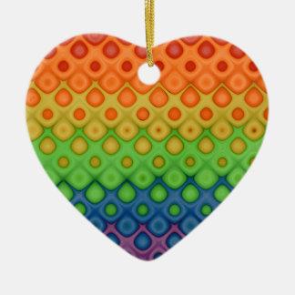 Hippie  Rainbow Bubbles Wedding Couple Keepsake Ceramic Heart Decoration