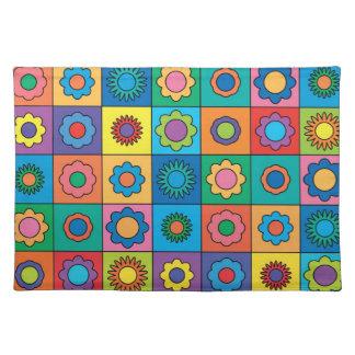 Hippie Rainbow Flower Pattern Placemat