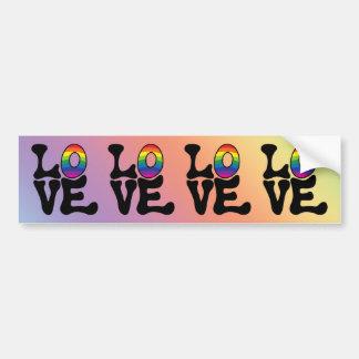Hippie Rainbow Love Text Car Bumper Sticker