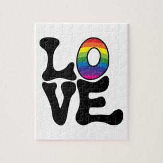 Hippie Rainbow Love Text Jigsaw Puzzle