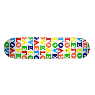 Hippie Rainbow Love Valentines Day Skate Board
