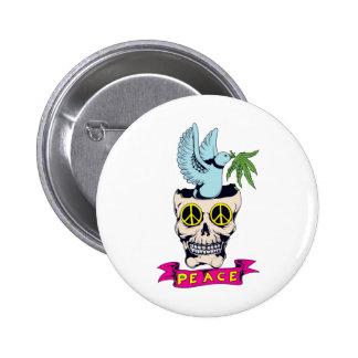 hippie retro peace skull vector art 6 cm round badge