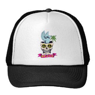 hippie retro peace skull vector art cap