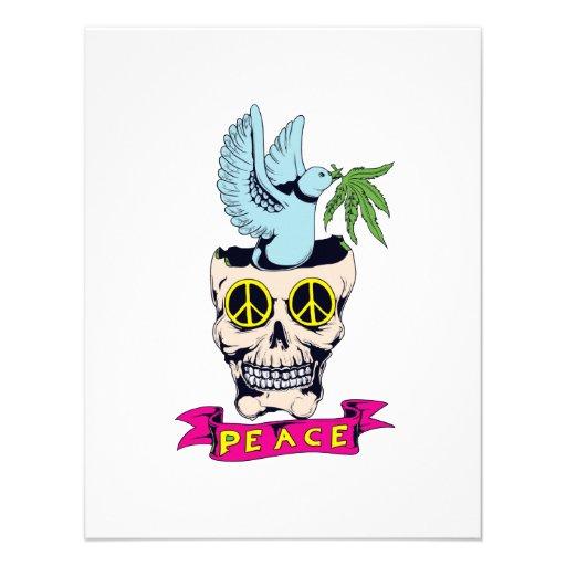 hippie retro peace skull vector art personalized invites