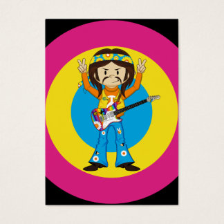 Hippie Rock Star with Guitar Business Card