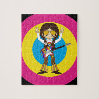Hippie Rock Star with Guitar Jigsaw Puzzle