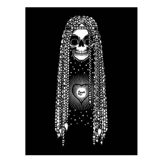 Hippie Skull of Love Postcard