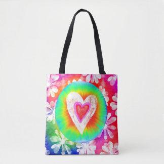 Hippie style tie dye Heart tote bag