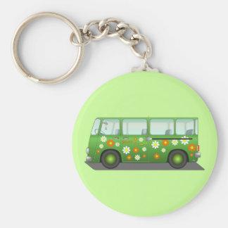 Hippie Van Basic Round Button Key Ring