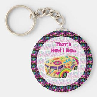 hippie van how i roll key chain