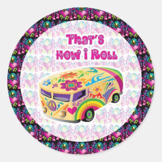 hippie van how i roll with groovy hearts round sticker