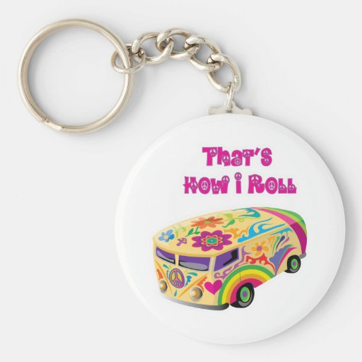 hippie van retro  how i roll key chain