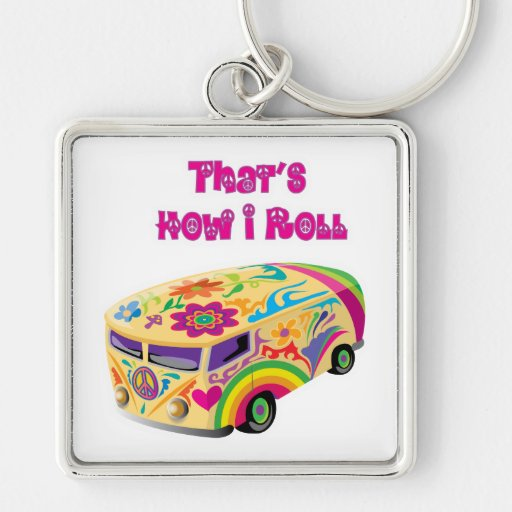 hippie van retro  how i roll keychains
