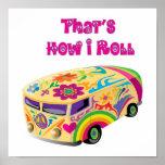 hippie van retro  how i roll print