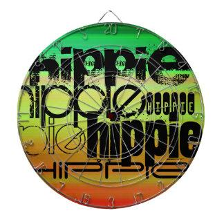 Hippie; Vibrant Green, Orange, & Yellow Dartboard With Darts