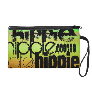 Hippie; Vibrant Green, Orange, & Yellow Wristlet Purse