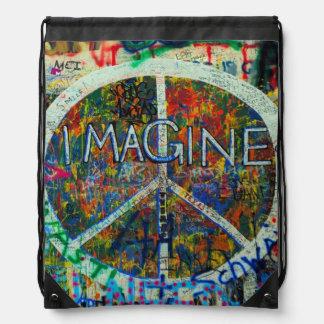 Hippie Wall Art Drawstring Backpack