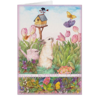 HIPPITY HOPPITY EASTER BUNNY BIRDHOUSE GREETING CARD