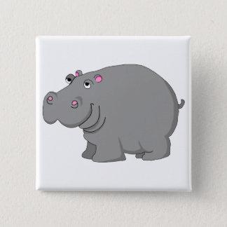 hippo 15 cm square badge