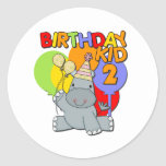 Hippo 2nd Birthday Round Stickers