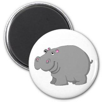hippo 6 cm round magnet