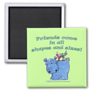 Hippo and Bird Friends Magnet