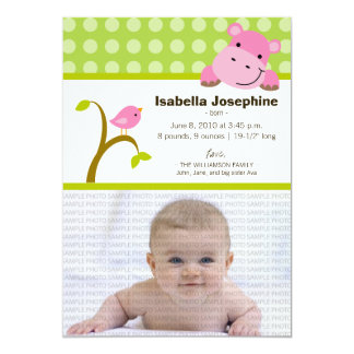 Hippo and Birdie Baby Birth Announcement (green)