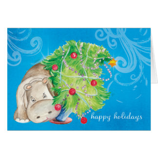 Hippo and Christmas tree tumble Greeting Card