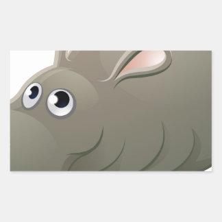 Hippo Animal Cartoon Character Rectangular Sticker