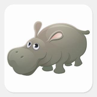 Hippo Animal Cartoon Character Square Sticker