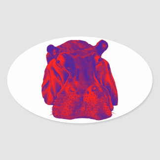 HIPPO AT DUSK OVAL STICKER