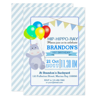 Hippo Balloons Adventure 1st Birthday Bash Card