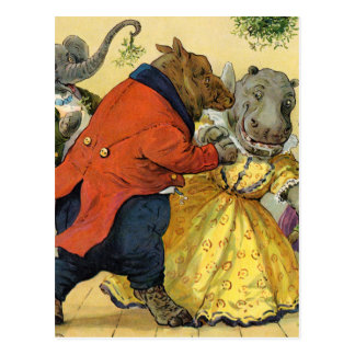 Hippo & Bear at the Christmas Ball in Animal Land Postcard