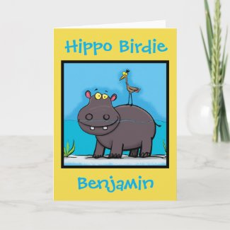 Hippo birdie funny cartoon birthday card