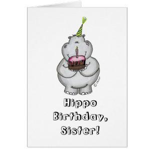 Happy hippo birthday cards invitations zazzle hippo birthday happy birthday card bookmarktalkfo Image collections