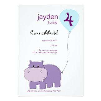 Hippo Birthday Invitation
