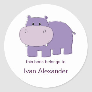 Hippo Bookplates Round Sticker