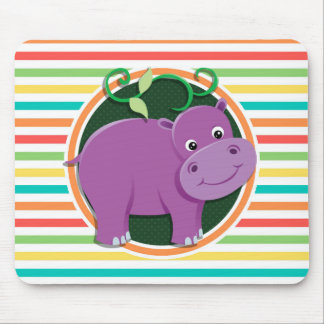 Hippo; Bright Rainbow Stripes Mouse Pads