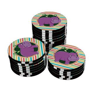 Hippo; Bright Rainbow Stripes Poker Chips