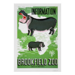Hippo Brookfield Zoo 1938 WPA Poster
