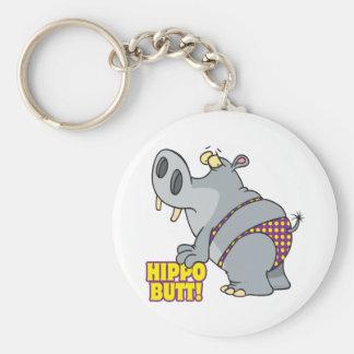 hippo butt bikini hippopotamus basic round button key ring