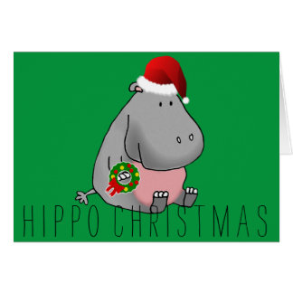 Hippo Christmas Card