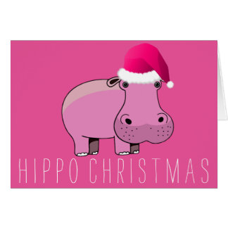 Hippo Christmas Greeting Card